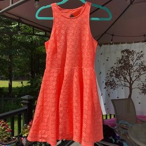Aeropostale - Peach/Coral  Lace Open Back Dress
